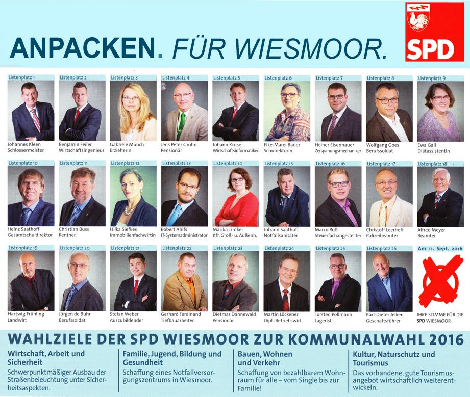 Die Kandidaten der SPD für den Stadtrat Wiesmoor